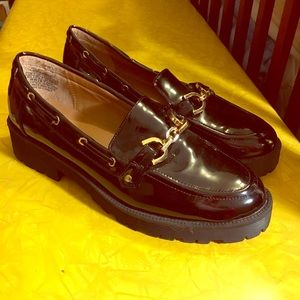 Patent Leather Platform Chunky Loafers gold buckle